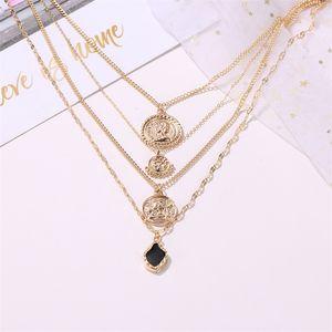 HUAJI Retro Multilayer Fashion Necklace Jesus Pendant Metal Necklace Angel Pendant Fashion Coin Human Face Popular Jewelry