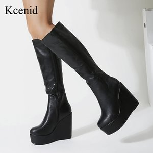 Kcenid Women's PU leather knee high boots wedges high heels platform zipper round toe winter fashion ladies shoes black size 40