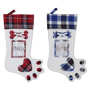 Dog Paw Christmas Stocking Socks Christmas Tree Ornaments Stockings With Photo Holder Home Christmas Party Decorations Supplies DBC BH4042