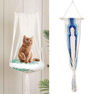 Handgewebte Schlafen Schaukel Bett Fenster Ruhesitz Baumwolseil Tapestry Home Decor Schlafzimmer Wandbehang Cat Hammock Pet Supplies