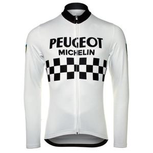 PEUGEOT 2 COLORI retrò da uomo in pile termico di inverno che cicla Jerseys manica lunga Bicicletta da corsa Abbigliamento Maillot Ropa Ciclismo