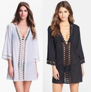 xwRKB Nova moda praia biquíni rendas blusa saia Bikini oco rendas-out deep V-neck sexy praia saia