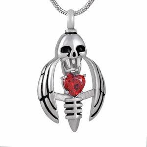 IJD9793 Летающих черепа Кристалл сердце Кремация Сувенирные Ожерелья для Ashes Мемориала Keepsake нержавеющей Подвески стали