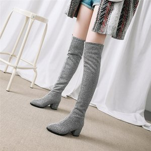 YMECHIC 2020 Womens Red Winter Over The Knee Tight High Stretch Boots Female Bling Chunky High Heel Stocking Ridding Boots Shoes