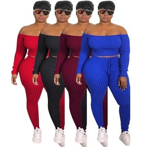 Sexy Apparel Pants Off Shoulder Piece Bodycon Sets 2 Outfits Leggings Trousers Designer Hoodie Fashion Women Crop Top Tracksuit Fall Cl Spqx