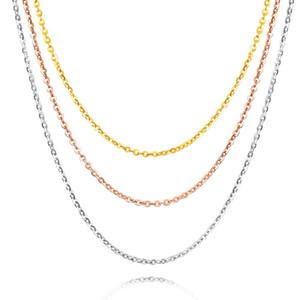 Kadınlar Fantezi Düğün Ofisi Takı Klasik 18K Saf Gerçek Solid Gold AU750 Gül / Beyaz / Sarı Bağlantı Zincir kolye Klavikular