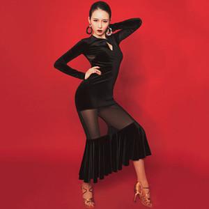 Latin Dance Dress Women Tango Salsa Cha Cha Samba Rumba Long Sleeve Sexy Black Mesh Competition Performance Clothing DNV12733