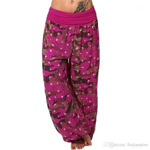 Panelled Plus Size Pants Fashion Designer Camouflage Printed Pants Summer Female Wide Leg Pants Women Loose