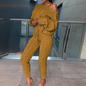 Women's Casual Knit 2 Piece Sets Autumn Winter Outfit Long Sleeve Sweater Pullover Crop Top And Pants Female Sexy Set