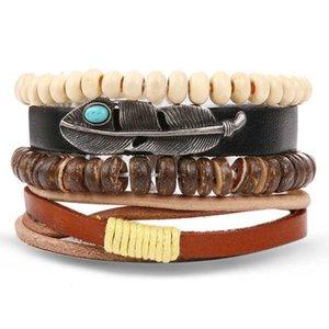 Las pulseras de cuero de la vendimia Kinfolk pluma multicapa para hombres Moda trenzada hecha a mano del grano de pulseras del abrigo masculino regalo de los brazaletes