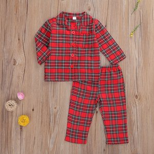 2020 New Baby Clothing Sets Retro Red Plaid Turn-Down Collar Pocket Blouse Top + Pants 2Pcs Set Boutique Kids Boys Clothes M2791