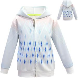 Buz Kar 2 Kız Hoodies Sweatshirt Coats İçin Çocuk Dış Giyim Kapşonlu Kız Ceket Snow Queen Çocuk ceketler Fermuar Coat Kapüşonlular