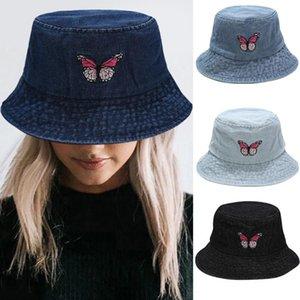 Cowboy Hat Men Women Butterfly Embroidery Fisherman Hat Sun Bucket Cap Summer Outdoor Fashion 2020 Hot Sale 8.26