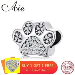 Moda bonito do cão A pata prata esterlina 925 Sparkling Zircon bem fazer jóias Bead Fit Original Pulseira charme europeu