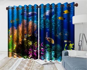 3d Curtain Bedroom 3d Cartoon Animal Modern Curtain Beautiful Underwater Animals Interior Decoration Practical Blackout Curtains