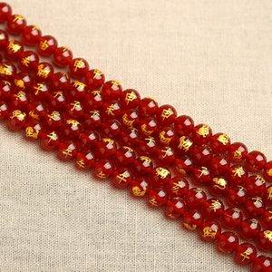 OynBM naturrot Diy Achat Vergoldung zwölf Tierkreisrundhalbfertig Achat Vergoldung Schriftzug lose Perlen DIY Perlen