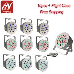 Sem fio uplighting 18 * 1W RGB bateria Par LED DJ bate a lavar-se-Lights com LED remoto plana Par pode luzes para Partido Dj casamento