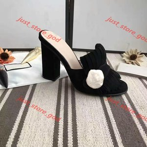 New Classic woman Sandals Lady Summer Design Sandals Metal buckle Leather sexy high heeled shoes Coarse heel 10cm Half slippers up