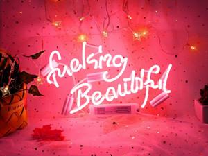 Néon signes putain de belle lumière de néon rose pour la décoration murale Chambre à coucher Signes murales suspendues Mots Neon personnalisés