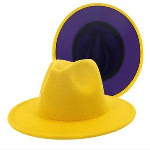 Men Classic Jazz Felt Fedoras Brim Cap For Wool Women Artificial Derby Blend Two Hat Wide Toned Church New Flat 10pcs lot Dwixw