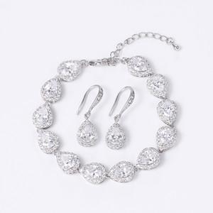 Gioielli Set regalo damigella d'onore Gioielli WEIMANJINGDIAN Halo Teardrop Cubic Zirconia CZ cristallo cerimonia nuziale del braccialetto e orecchini nuziale