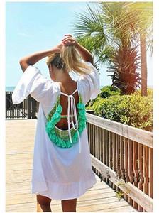 Sunscreen Beach Clothing Ruffle Casual Fashion Apparel Womens Summer Designer Dresses Fringed Sexy Backless Chiffon Beads