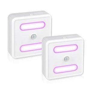 LED 1pcs Toilet Seat Night Light Sensor de Movimento WC luz UV Desinfecção lâmpada AAA Battery Powered Backlight para WC