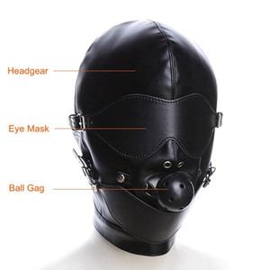NEUE PU-Leder-Kopfbedeckungen Kopfmaske mit Ballknebel Open Mouth Augenmaske Bondage Restraint Blinde SM Sex Toys BDSM Toys DHL-Maske