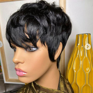 Pixie Cut dentelle perruque 180% Preplucked Lace Front Wigs 13x4 court Cheap cheveux humains Bob Front Wigs humain Cheveux Glueless