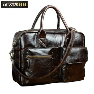 Homens Couro Business Travel Briefcase 16 Laptop Caso Executive Professional Portfolio Organizador Messenger Bag B331c