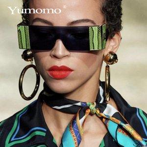 YUMOMO moda de gran tamaño gafas de sol sin montura plaza de mujer de marca Diseñador plana vidrios de sol grandes Mujer de una pieza de viajes Gafa de sol