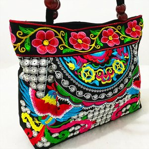 Womens Handbags Vintage Embroidery Handbag Flower Ethnic Canvas Wood Beads Double Layered Travel Shoulder Bag