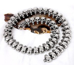necklace mens skull chain stainless steel Retro necklace Gothic hip hop punk skeleton fashion jewelry chain on the88