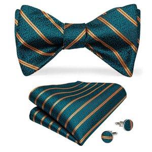 Men Silk Bowtie Green Gold Striped Designer Necktie For Men Wedding Party Adjustable Bow Tie Hanky Cufflink Set DiBanGu LH-098