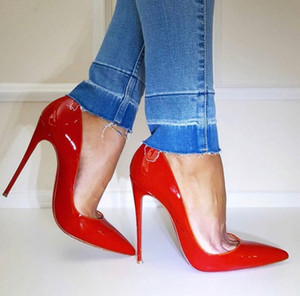 Elegant Hot Sale-Red Bottom high heels Womens Handmade Fashion Dress Shoes Pointy Ankle Strap luxury designer sandals trendy Leather up