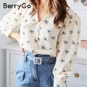 BerryGo florais camisa mulheres blusa de impressão camisa de manga longa do vintage top feminino senhoras de escritório v-neck streetwear Casual blusa