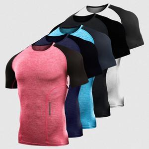 Men's Running Shirt Men's T-Shirt Quick-drying Running Slim T-Shirt Sports Fitness Gym T Shirt Muscle BjNU#