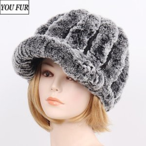 Knit Real Rex Fur Striped Hats Winter Warm Women Floral Genuine Fur Caps Russian Ladies Good Elastic 100% Natural Hat