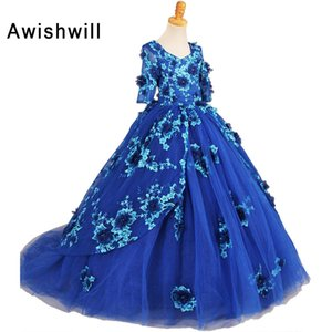 Photography 2020 Girls Pageant Dresses With Half Sleeves Blue Ball Gown Appliques Tulle Flower Girl Dresses For Little Girls