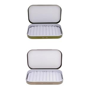 2pcs impermeabile in lega di alluminio con lo spacco Schiuma mosca Cassa di pescatore mosche Tackle Box 2 colori