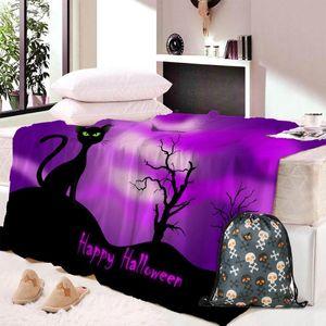 Halloween Blau dünne Decke Lässige Bett Decke für Kinder Wirft Covers Mode Adult Wearable Bedspread