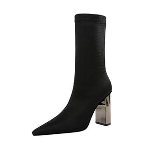 Женщины колено сапоги Обувь из натуральной кожи высокой пятки леди сапоги острым носом Zip Толстые каблуки Длинные сапоги осень зима 40