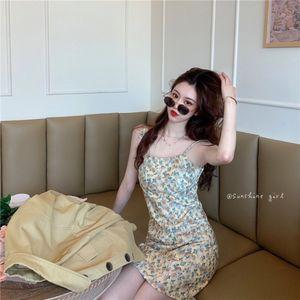 coreano estilo tudo-match elegante macacão Suspender saia Calças e casaco coat + arte do chá floral fina suspender divisão saia de dois piec