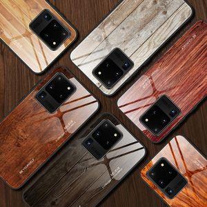 NEW آيفون 12 11 برو ماكس X XS XR SE 2020 SE2 6 7 8 6S PLUS الزجاج المقسى حالة الخشب الحبوب واقية بلينغ TPU غطاء الهاتف فاخرة