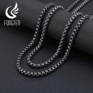 سلاسل Fongten الرجعية القوطية رابط سلسلة قلادة الرجال الفولاذ الصلب الأسود الطويل القلائد خمر الهيب هوب bff مجوهرات مخصصة