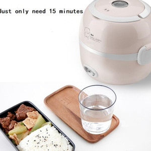 220V MINI العزل طبخ الأرز تسخين مربع الغداء الكهربائية 2 طبقات المحمولة متعددة الوظائف الباخرة التلقائي الحاويات الاتحاد الأوروبي