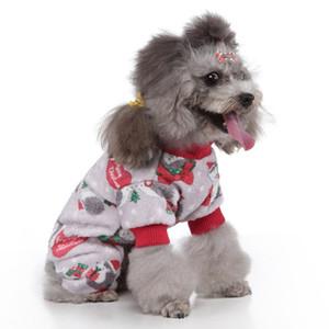 Pet Noel Kıyafetler 4 bacaklı Karikatür Desen Kostüm Küçük ve Orta Köpekler Kış Sıcak Jumpsuit Kıyafetler Pijama Köpek Giyim 2