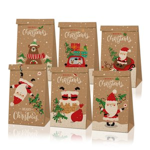 12pcs lot Christmas Gift Packaging Bags Craft Paper Apples Candy Case Party Gift Xmas Santa Snowman Hand Bag Wrapped Package Decorations