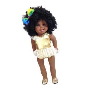 Elbise ile 18inch Afrikalı Amerikalı Doll Siyah Kız Bebek Headband, Çocuk Mükemmel Hediyesi için Çal Bebekler Ayakkabı