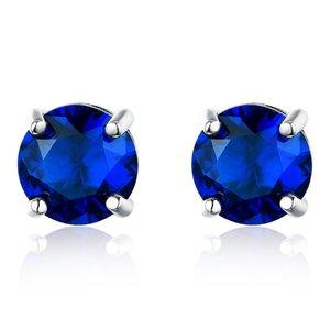 925 orecchino d'argento Solitaire pietra preziosa rotonda Creato Nano Blue Sapphire Stud errante per le donne Classic Fine Jewellery